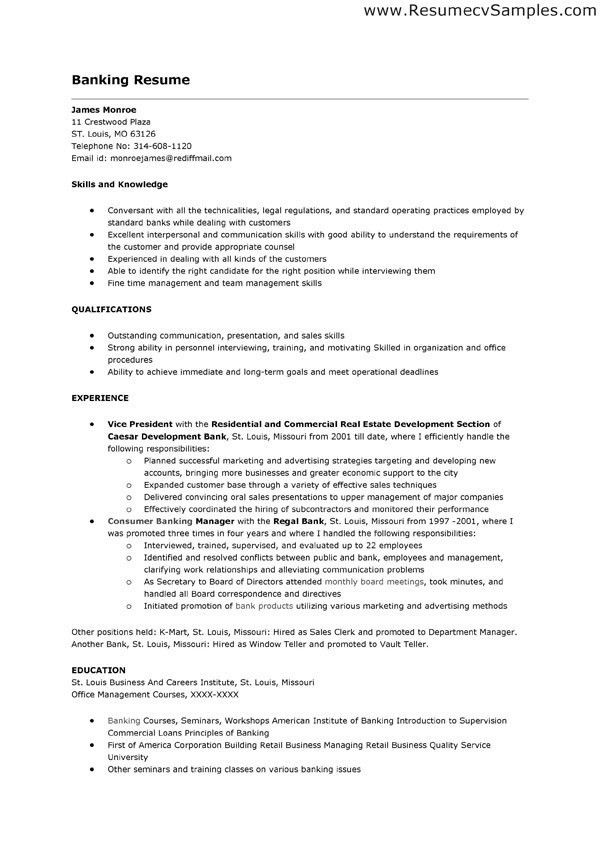 Banking Resume Format. Banking Resume Objective We Provide As ...
