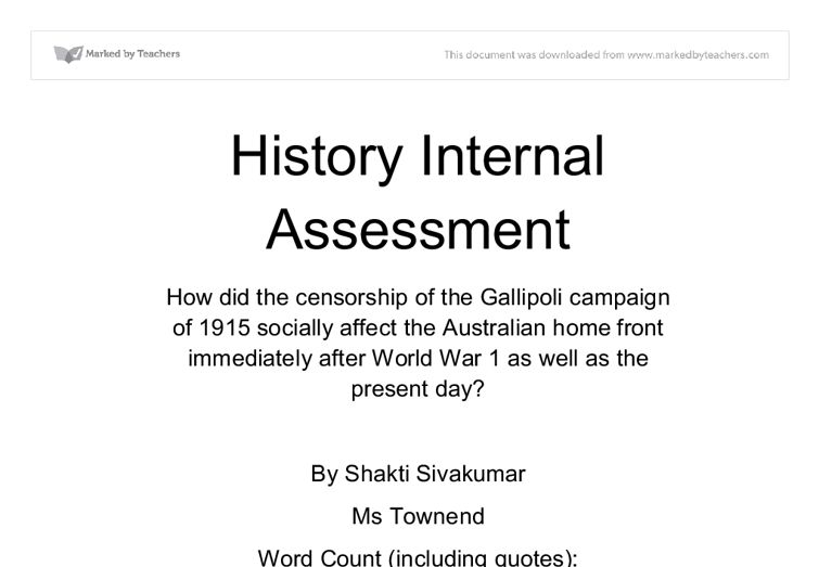 History IA - International Baccalaureate History - Marked by ...