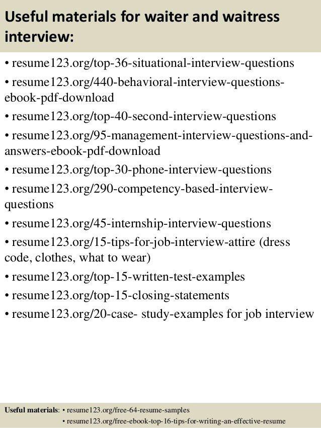 Top 8 waiter and waitress resume samples
