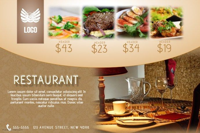 restaurant special menu offer flyer template gold landscape luxury ...