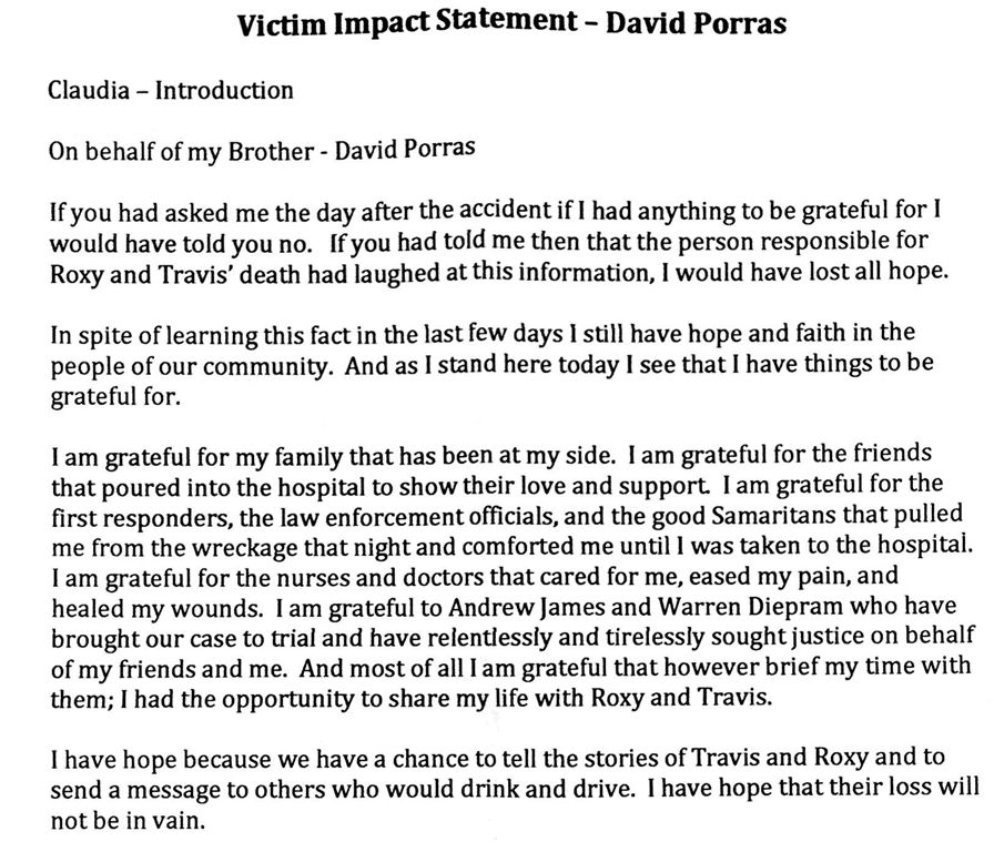 VICTIM IMPACT STATEMENT OF THE LONE SURVIVOR OF THE WRONG WAY ...