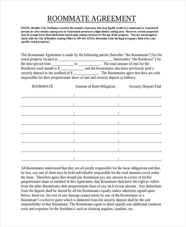 Sample Roommate Agreement Form - 12+ Free Documents in Word, PDF