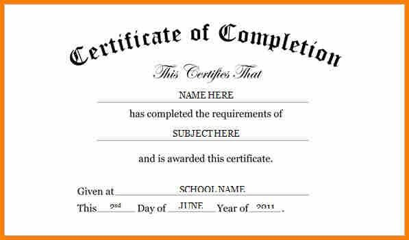 microsoft word certificate of completion
