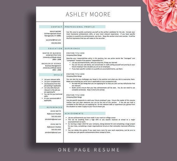 one page resume template. pages resume template pages resume ...
