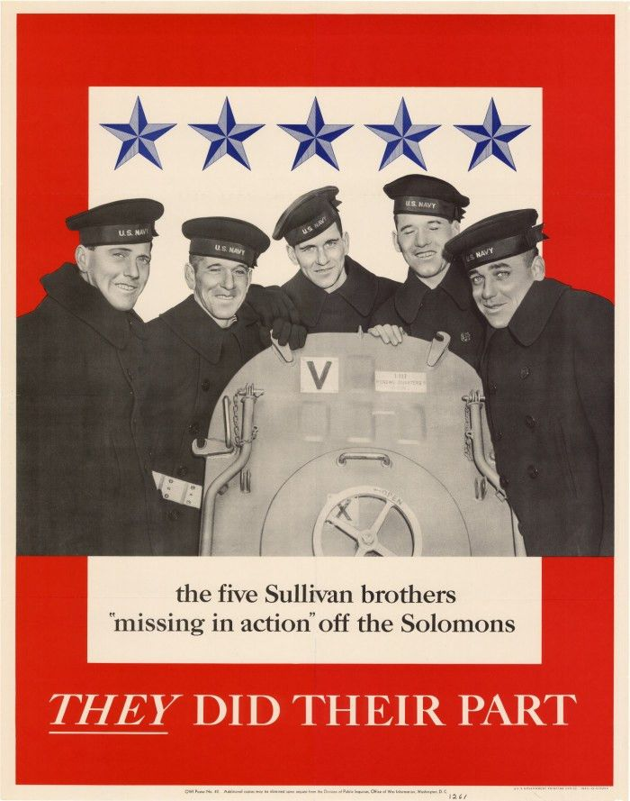 """The five Sullivan brothers, """"missing in action"""" off the Solomons ..."""