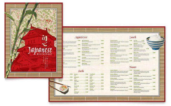 Japanese Restaurant Menu Template Design