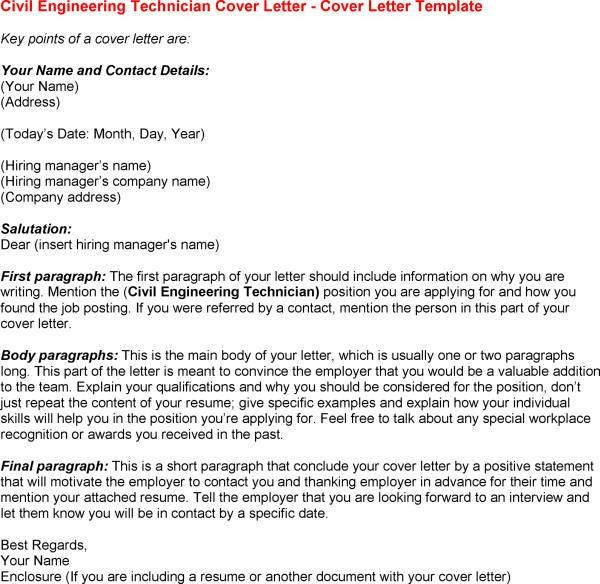 civil engineering technician cover letter Applying to work as a civil-structural engineer use this sample of a civil-structural engineer cover letter to write a winning job application.