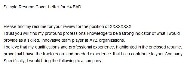 Sample Resume Cover Letter for H4 EAD | RESULTS OCEAN