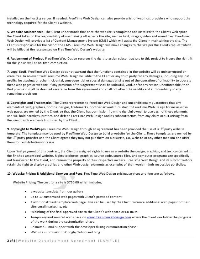 Sample website-development-agreement