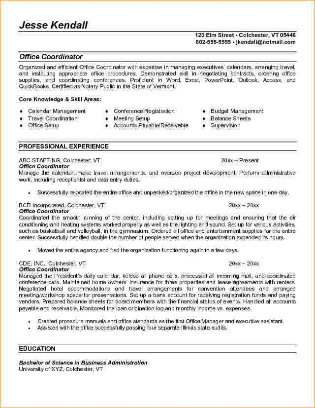 Sample Cover Letter For Administrative Coordinator