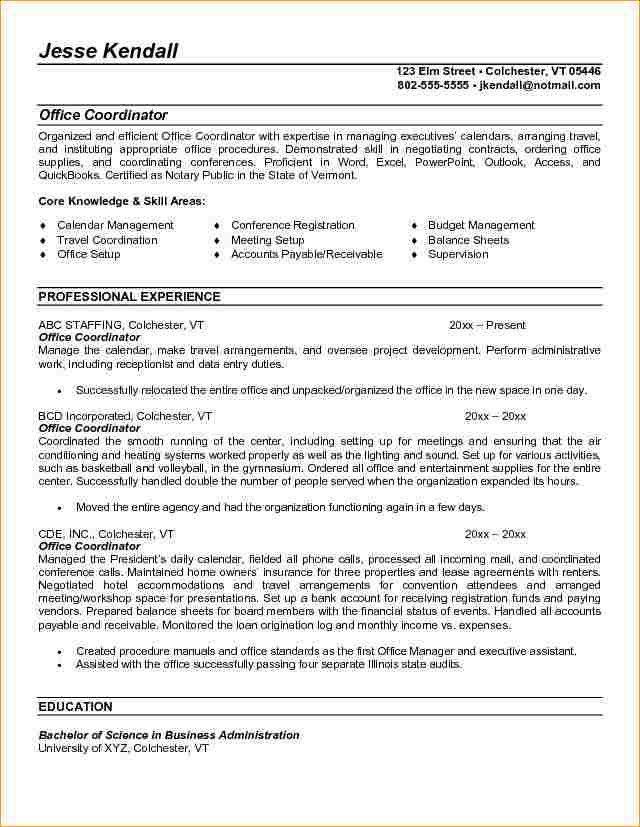 administrative coordinator resumes