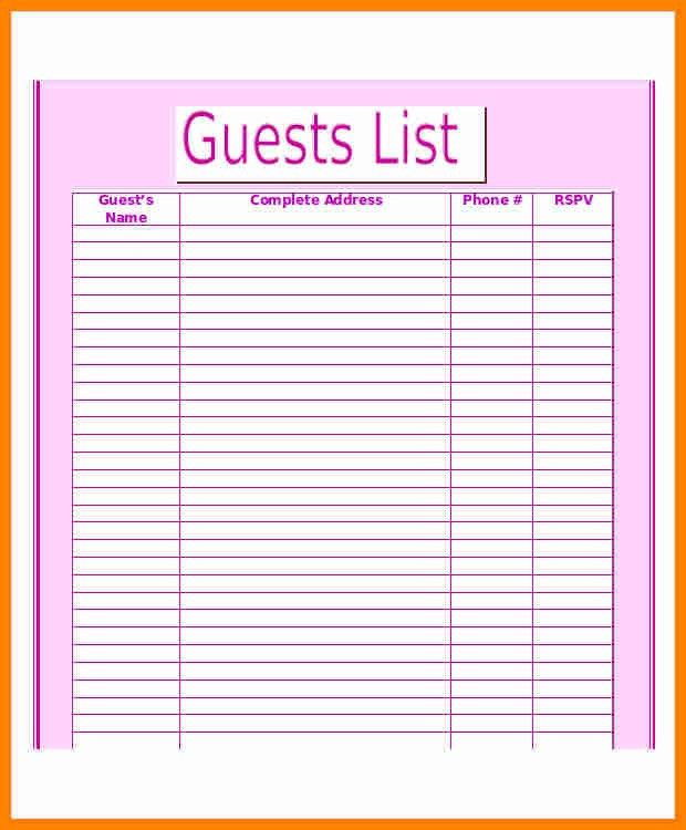 7+ printable wedding guest list template | job resumed