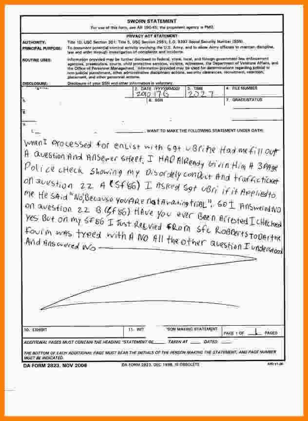 12+ army sworn statement | Statement Information