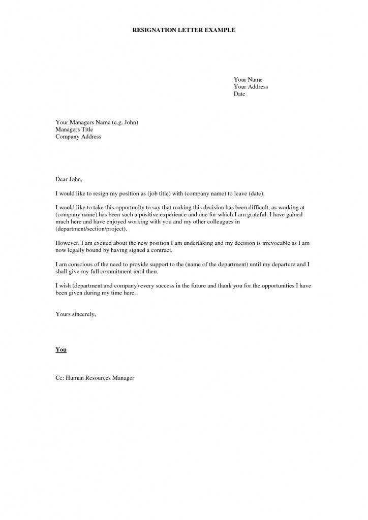 Example Of Letters Of Resignation. Printable Sample Letter Of ...