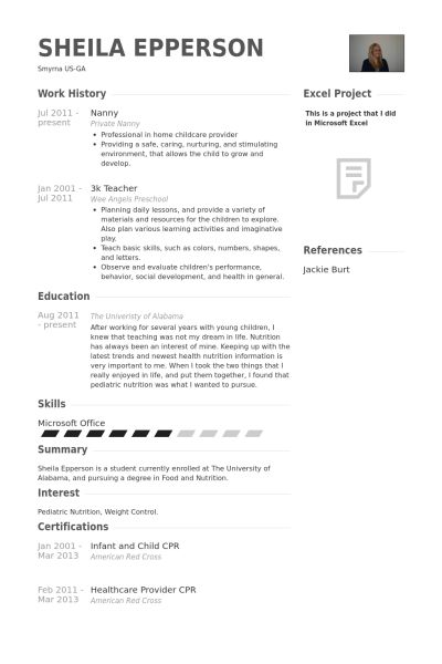 Nanny Resume samples - VisualCV resume samples database