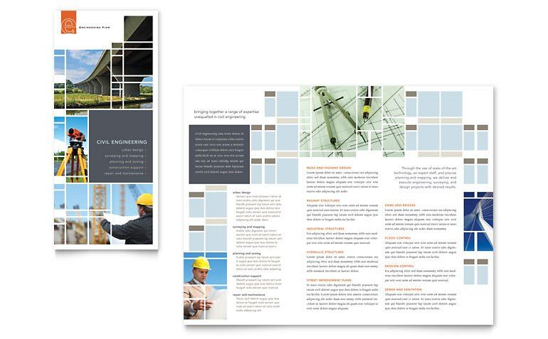 Civil Engineers Tri Fold Brochure Template - Word & Publisher