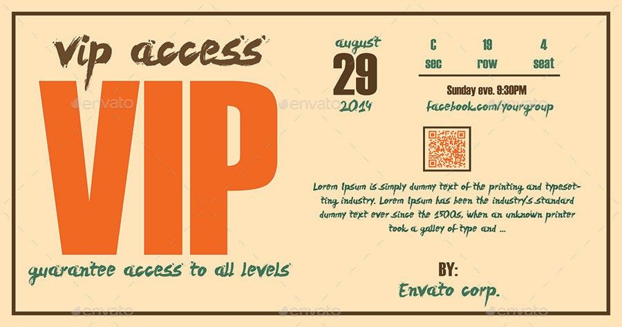 Vip Ticket Template 32 Best Vip Ticket Pass Template Designs For – Theatre Ticket Template