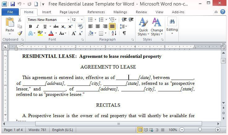 Free Residential Lease Template for Word