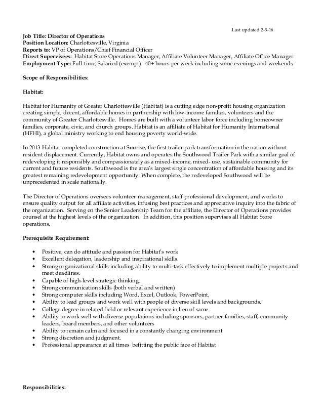 Director of Operations job description 2-3-16