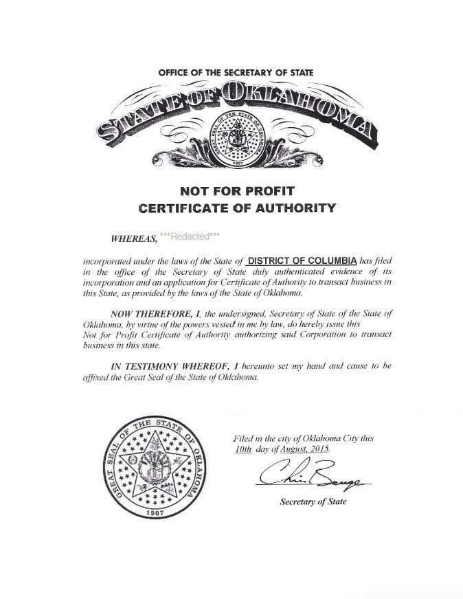 Oklahoma Certificate of Authority | Harbor Compliance