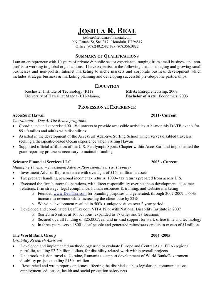 Resume -- Joshua R. Beal, MBA
