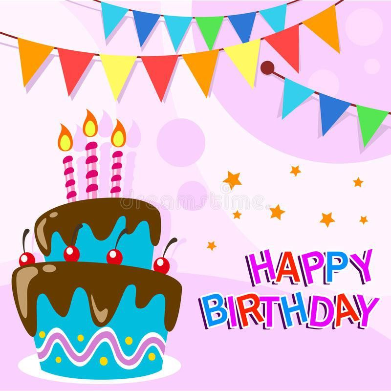 Vector Happy Birthday Card Template With Fun Cartoon Birthday Cake ...