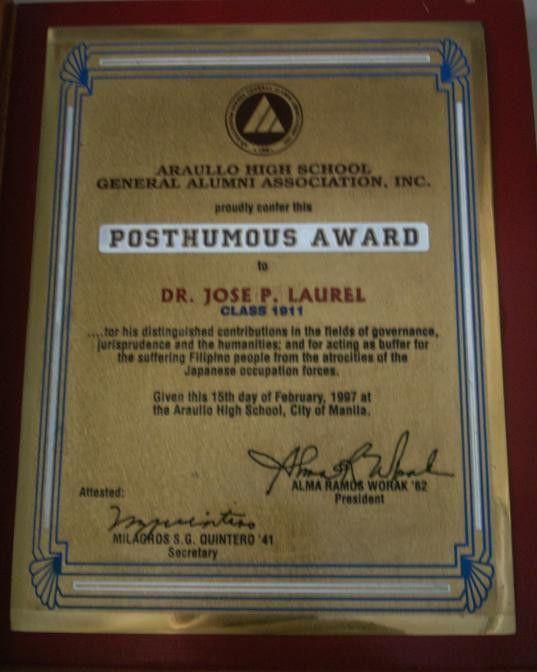 Image Gallery of Posthumous Award
