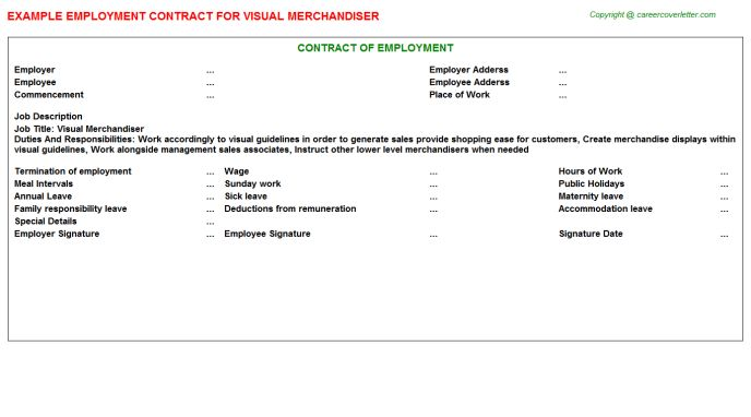 Visual Merchandiser Employment Contract