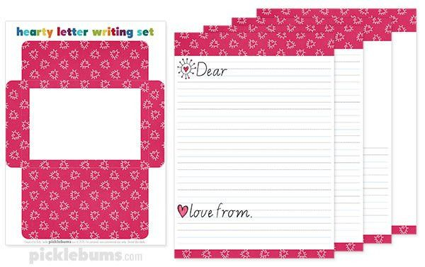Free Printable Valentines Letter Writing Set - Picklebums