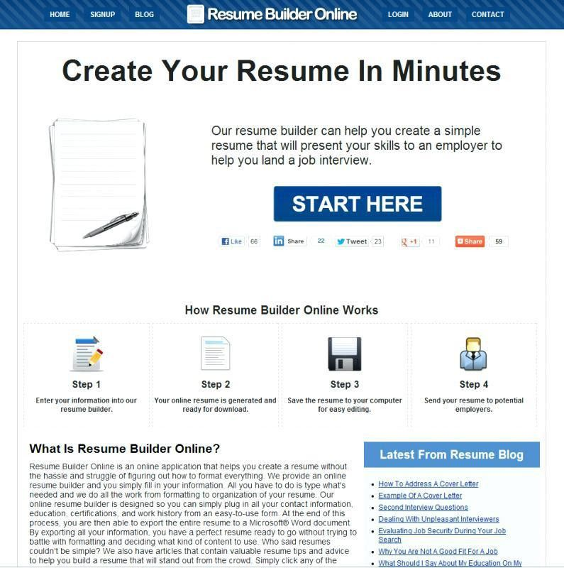 resume builder for free to print