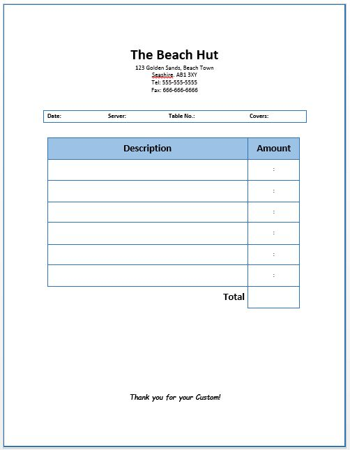 Restaurant Dining Invoice Template | Free Invoice Templates