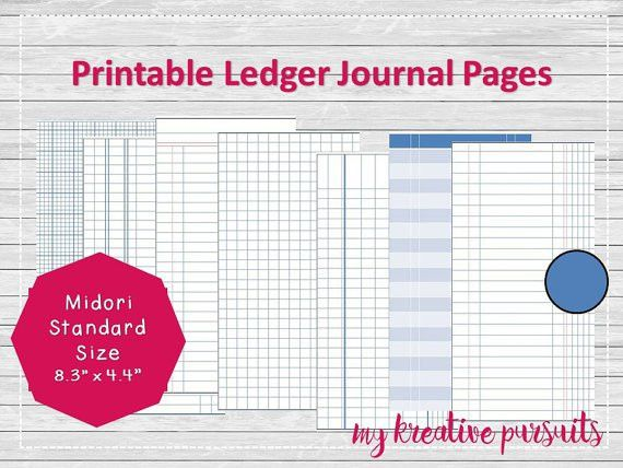 Bullet Journal Printable Pages Ledger Papers Midori Inserts