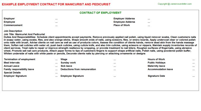 Manicurist And Pedicurist Employment Contract