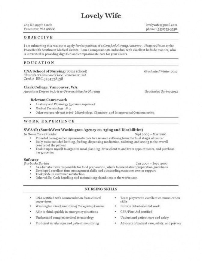 view sample. cna sample resumes cna resume examples with ...