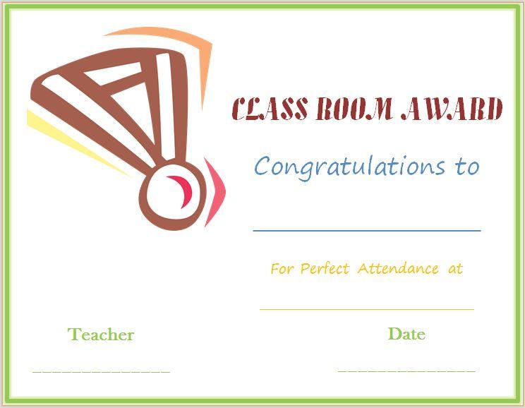 Classroom Attendance Award Certificate (Medal Design) | Award ...