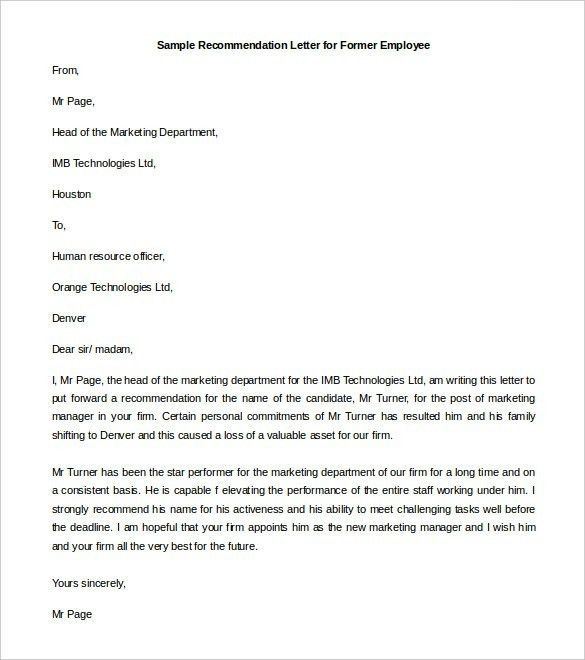Employment Reference Letter Sample. Recommendation Letter Sample ...