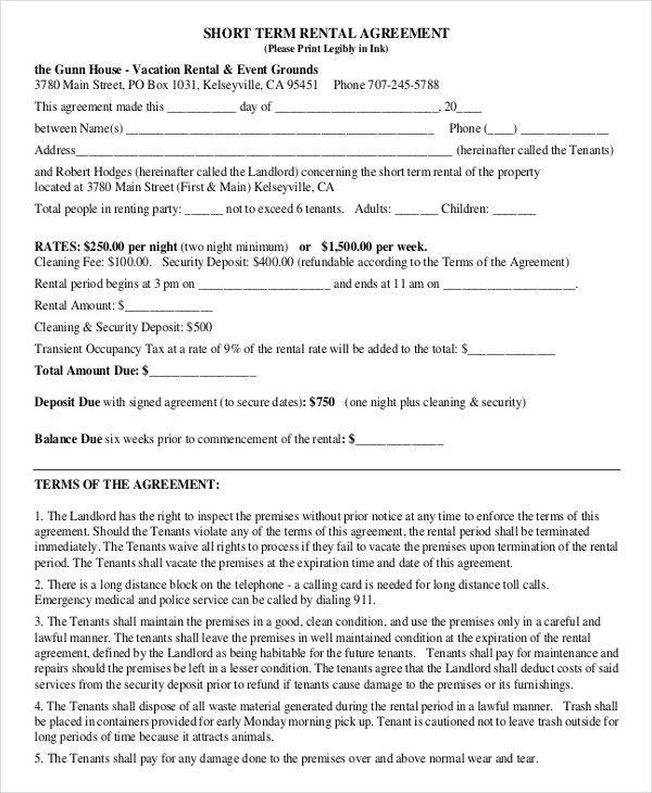 Sample Short Term Rental Agreement. Printable Sample Rental Lease ...