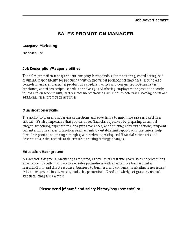 Sales Promotion Manager Job Description - Hashdoc