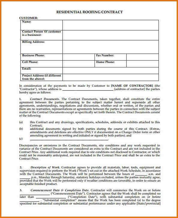 FREE RESIDENTIAL ROOFING CONTRACT TEMPLATE.Free Residential ...