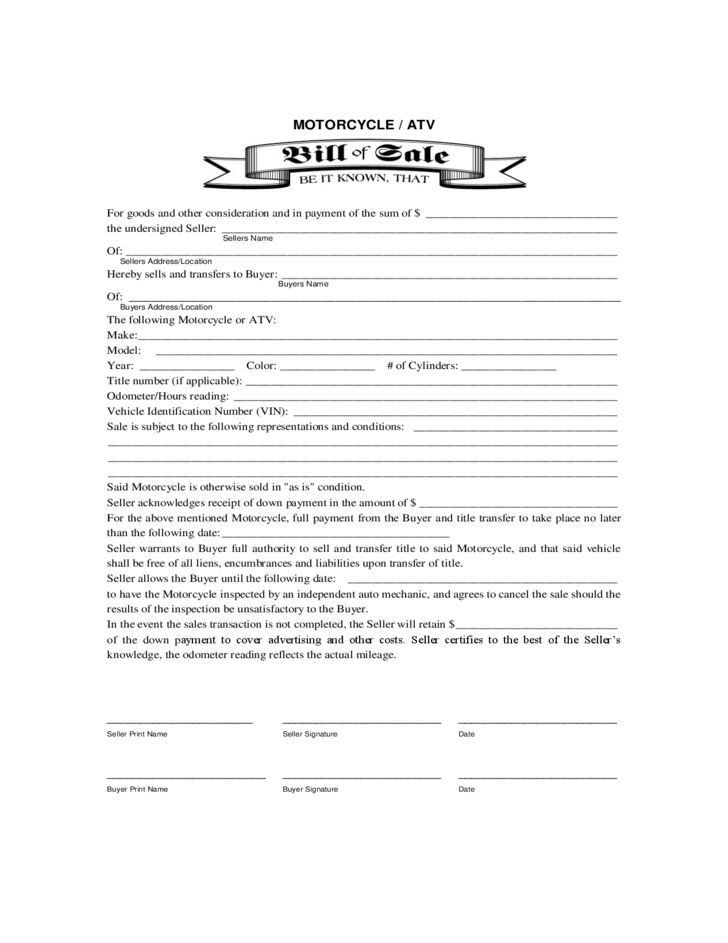 Motorcycle or ATV Bill of Sale Form Free Download