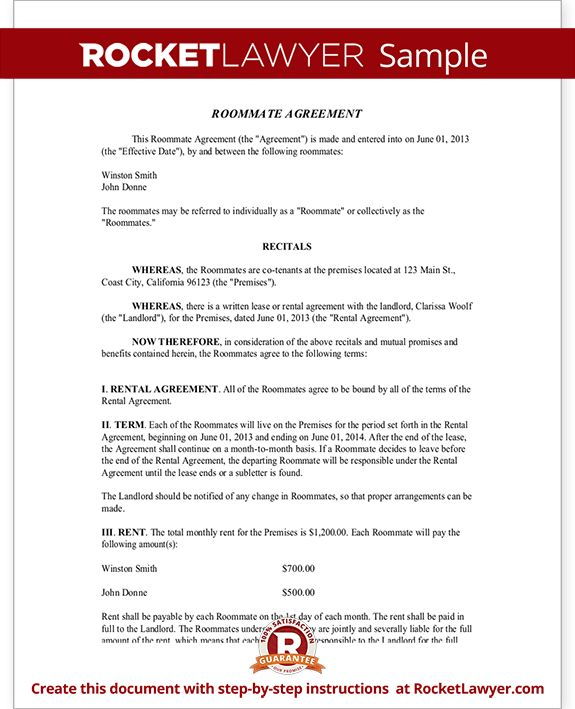 Roommate Contract - Room Rental Agreement | Rocket Lawyer