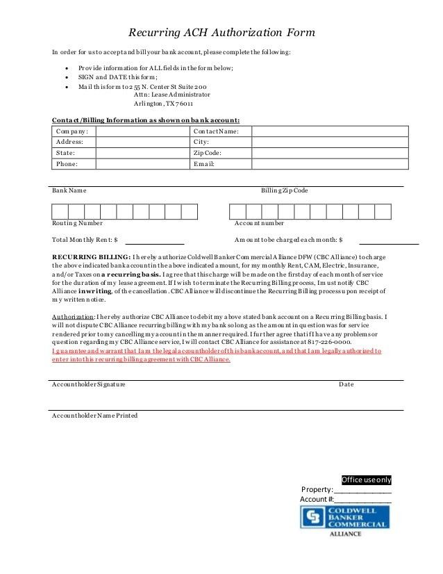 Recurring ACH authorization form