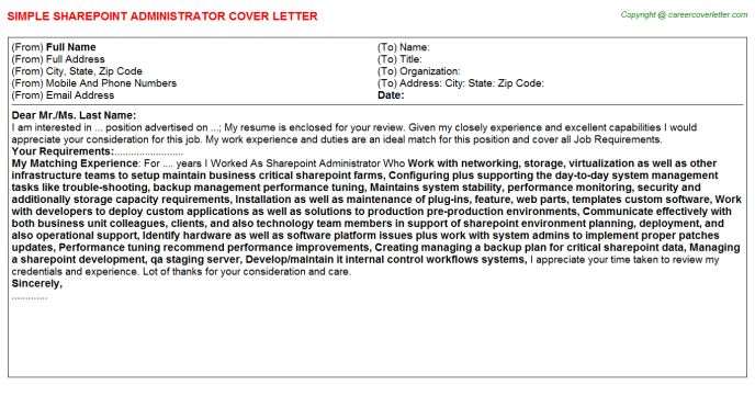 Sharepoint Administrator Cover Letter
