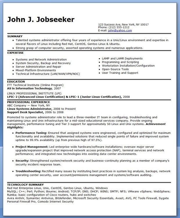 Resume Samples for System Administrator Job Position : Vinodomia