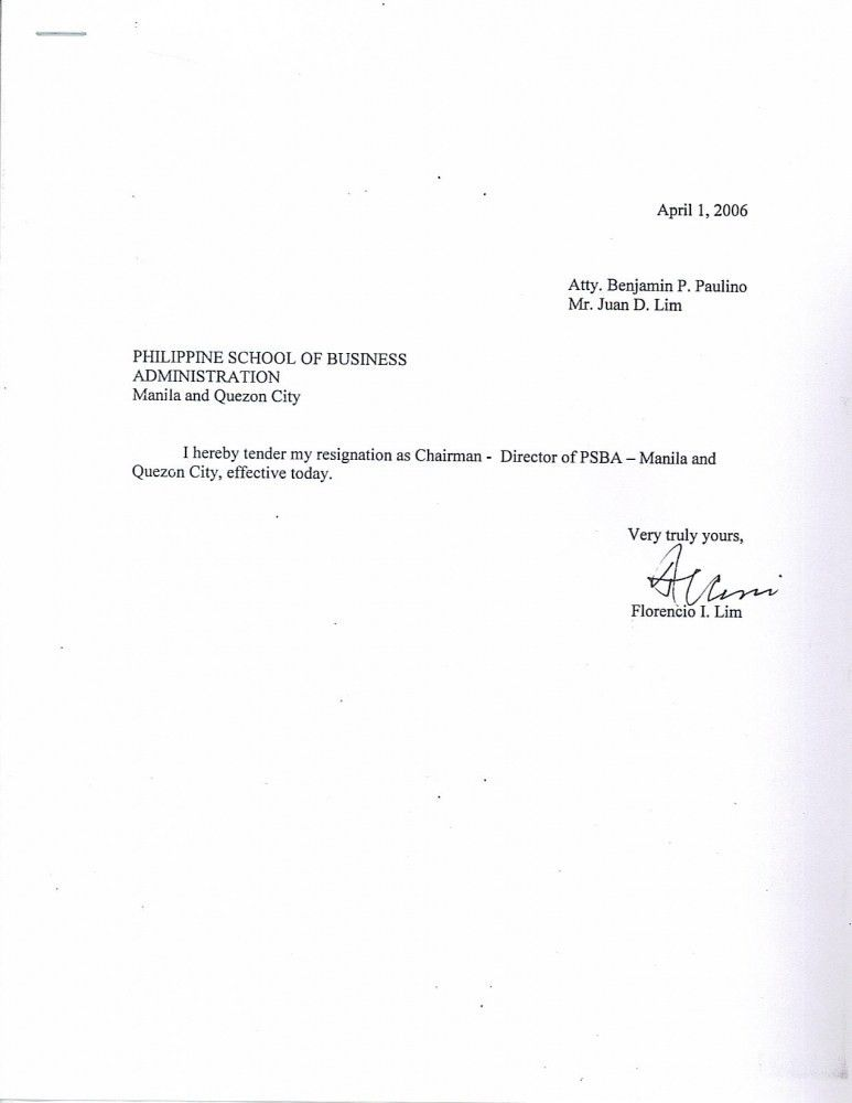 Short Notice Resignation Effective Letter Examples of Simple ...