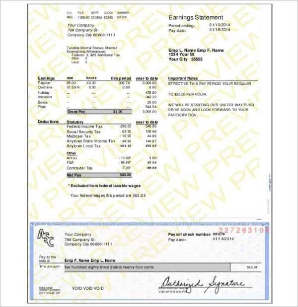 Pay Stub Template - Free Word, PDF, Excel Format Documents ...