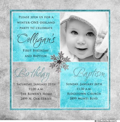 Photo Winter Birthday Baptism Invitation | Baptism invitations ...
