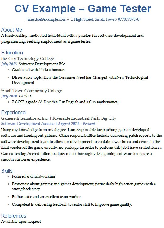 Game Tester CV Example - icover.org.uk