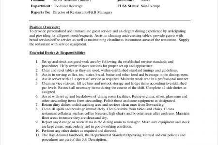 Download Table Busser Job Description | haadyaooverbayresort.com