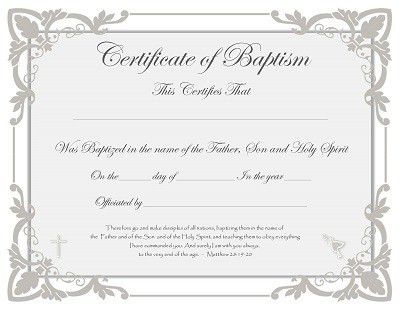 Free Baptism Certificate Templates | Wedding Officiants ...
